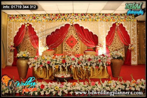 Flower decoration wedding stage bangladesh for American wedding stage decoration